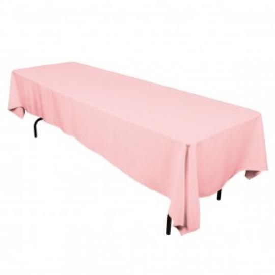 Pink table linen rental